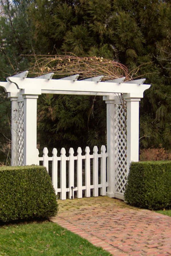 White Garden Arbor with Fence