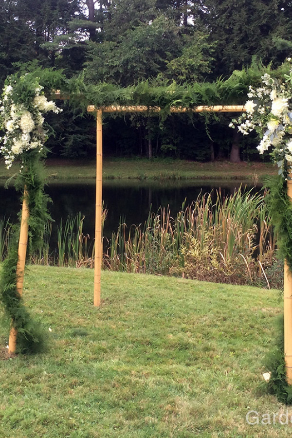 Simple Wood Garden Arbor with Flowers