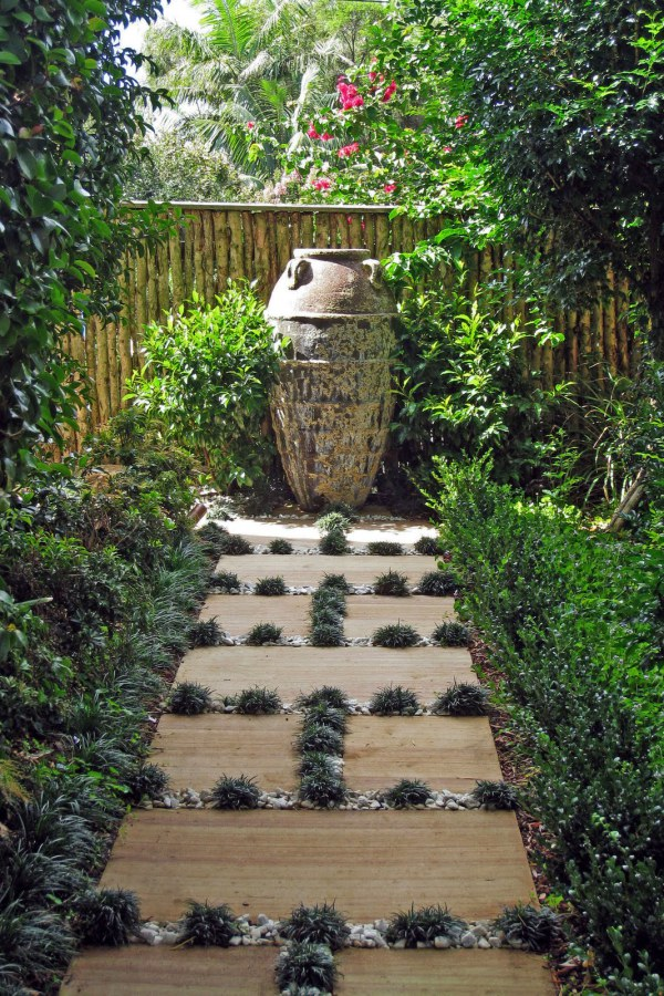 Stone Garden Path with Plants In Between