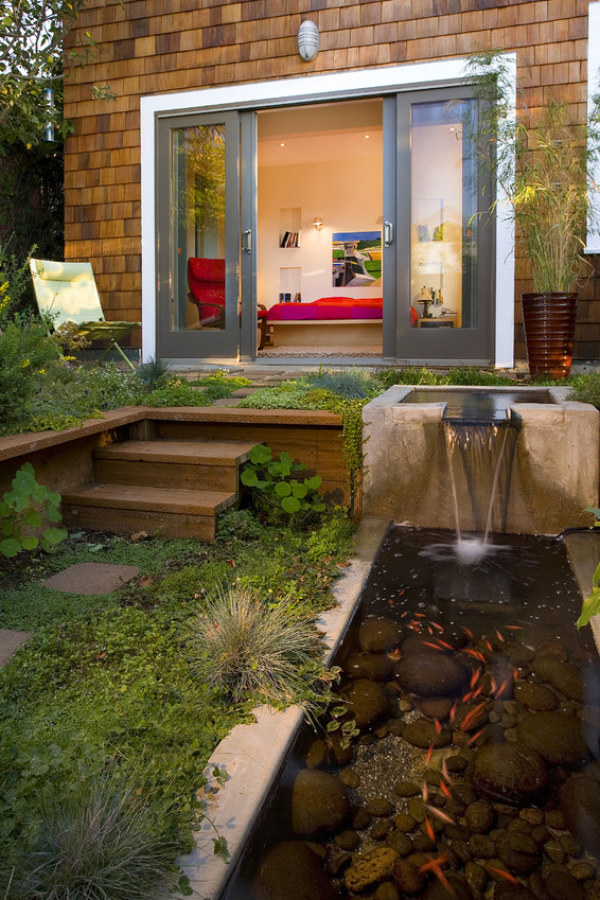 Backyard Koi Pond with Flowing Water