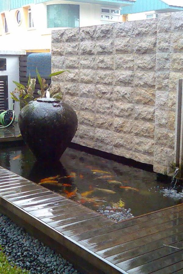 Koi Pond with Large Jar