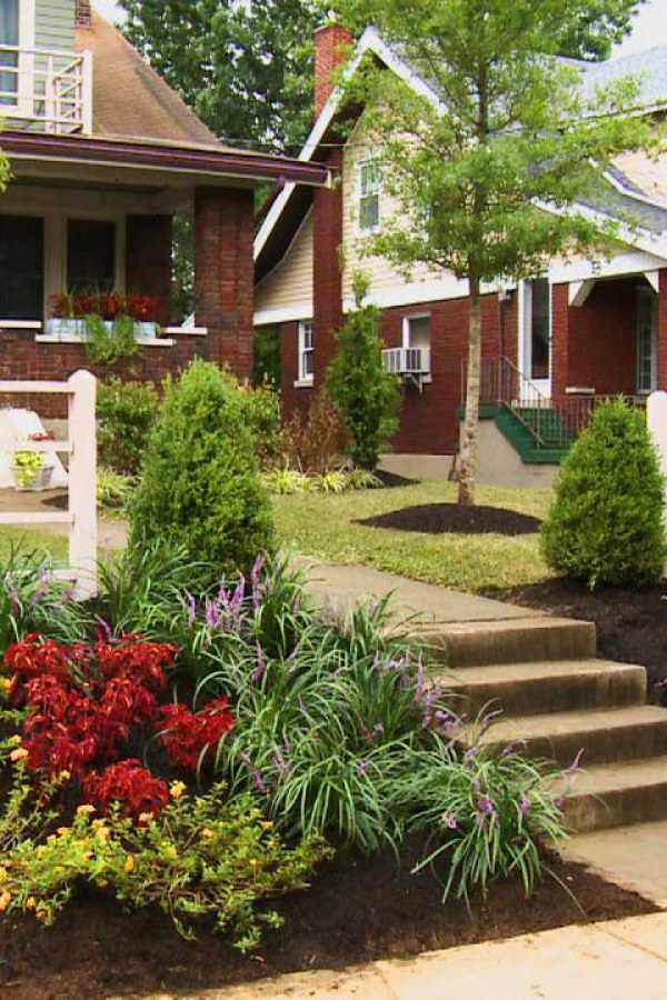 Front Yard Landscape with Flowers