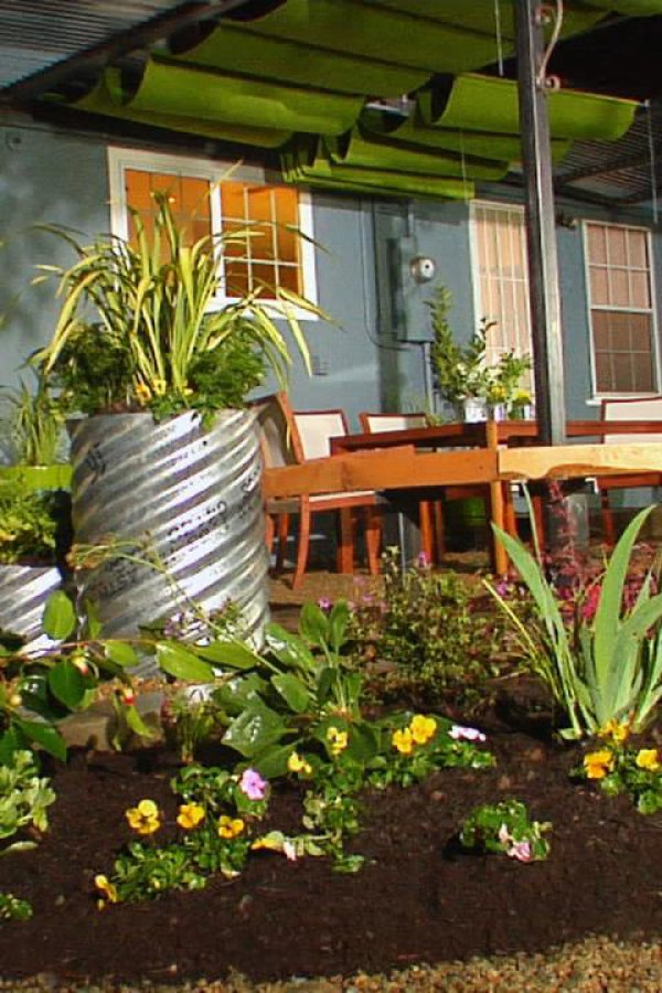 Garden Landscape with Repurposed Container