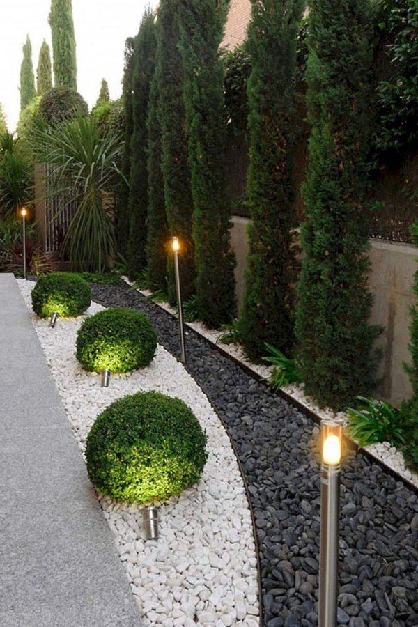 Modern Landscape with Outdoor Lights