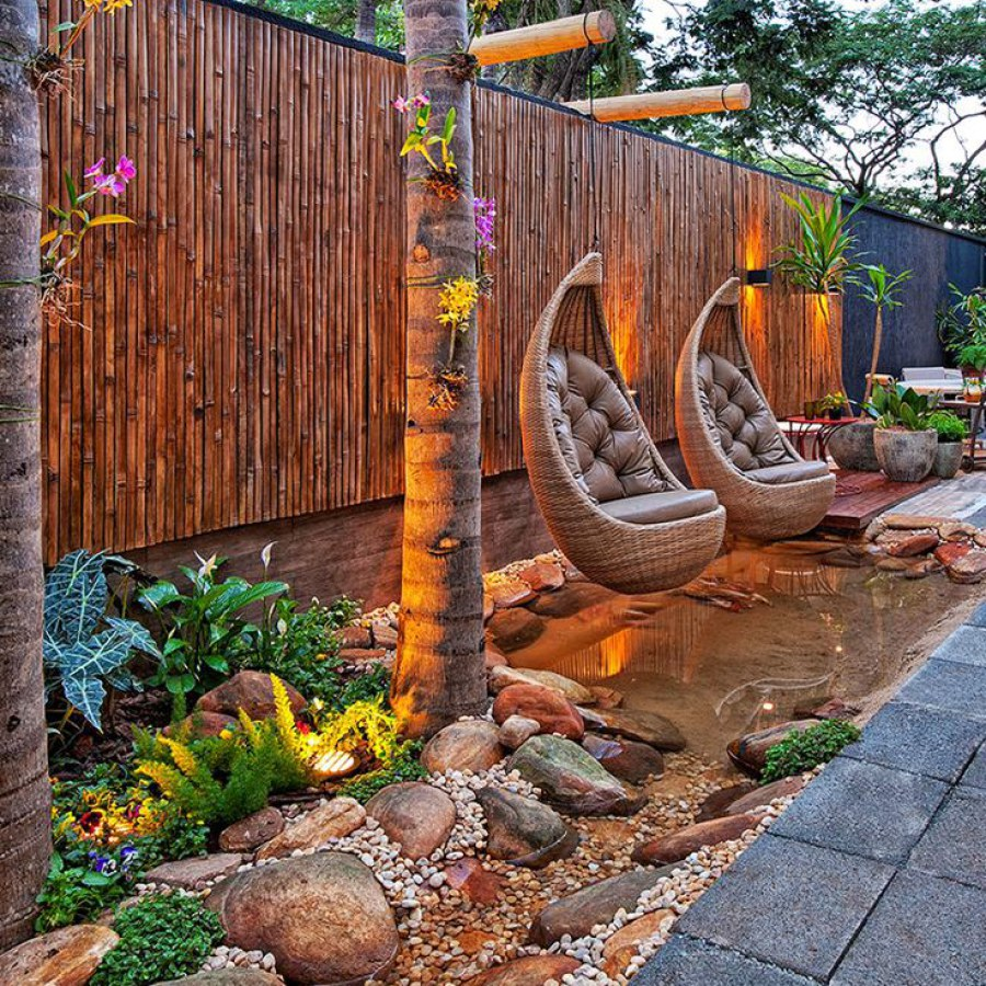 Cozy Landscape with Hanging Chairs